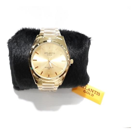Relógio Atlantis Gold Dourado Todo Em Aço Inoxidável