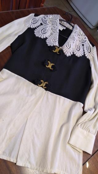 Camisa Combinada Con Cuello Dipyur T S/m (con Mancha)