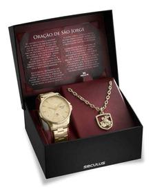Kit Relógio Seculus Masculino São Jorge + Colar E Medalha