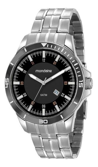 Relógio Masculino Mondaine Black Aço Prata 78762g0mvna1