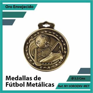 Medallas En Cali De Futbol Oro Metalica M13oro