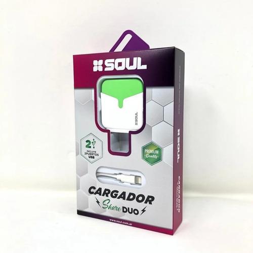 Cargador Para Carga Rápida Soul Doble Usb + Cable Micro Usb