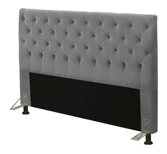 Cabeceira de sommier JS Móveis Cristal Casal/Queen 160cm x 126cm Camurça cinza