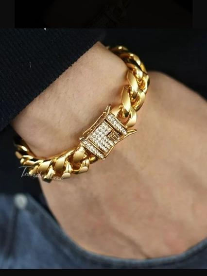 Pulsera Cubana Acero Gruesa Broch Diamantado En Oro Lam 18k