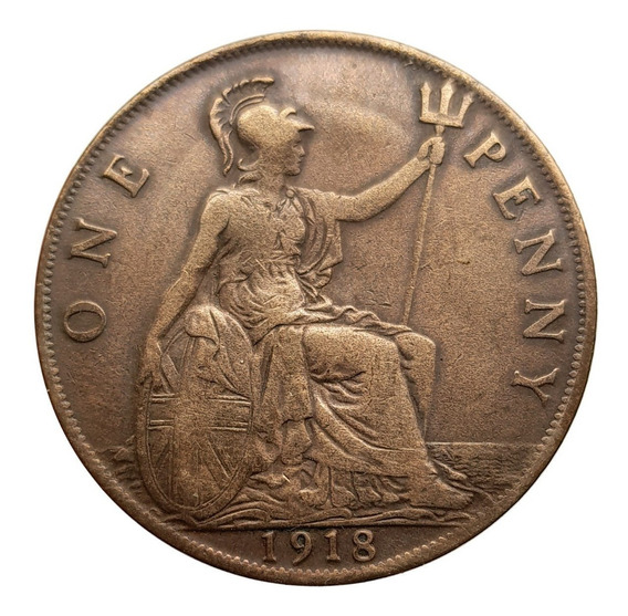 Ch C / Reino Unido - 1 Penny 1918 - Km #810