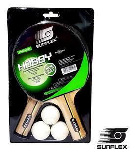 Combo Set Sunflex Hobby 2 Paletas Ping Pong + 3 Pelotas