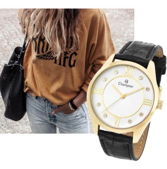 Relógio Dourado Feminino Champion Couro Preto Cn28268b