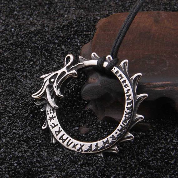 Colar Dragão Vikings Runas Cordao Viking Runas Dragon Tribal