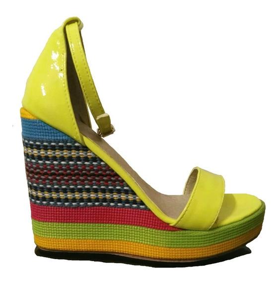 Sandalia Taco Chino Colores Nuevo Zapato Plataforma Charol
