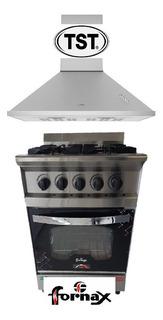 Cocina Fornax 55 Cm Multigas + Campana Tst Traful
