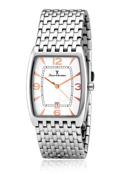 Relógio Pulso Jean Vernier Caixa Pulseira Aço Jv65052b