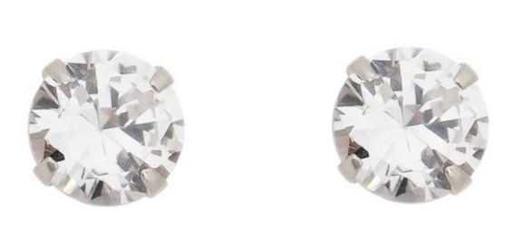Brinco Masculino Prata Pura 950 Pedra Diamante Sintético 8mm