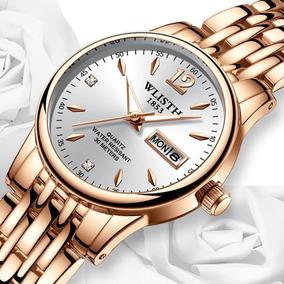Relógio Feminino Dourado De Luxo Colar+1bateria Original
