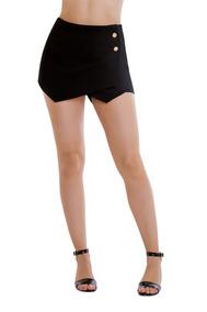 Short Falda Negra Corta Con Botones Devendi Denim Co