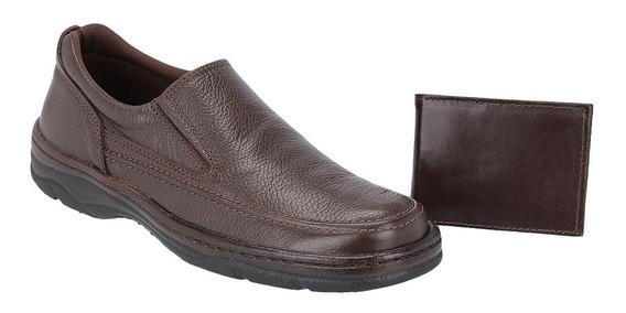 Sapato Masculino Casual Kit Carteira Galway Em Couro 2021