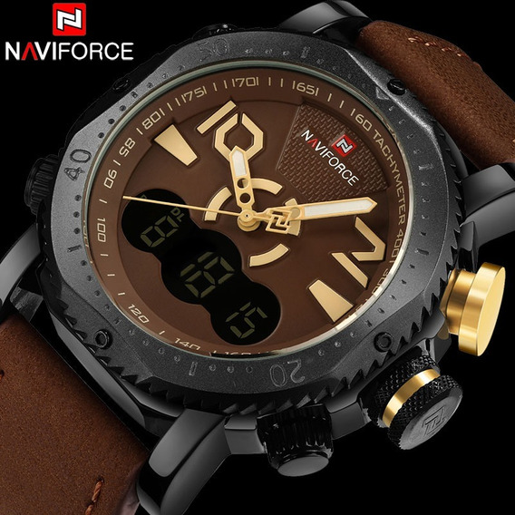 Relógio Militar Naviforce Analógico E Digital Marrom