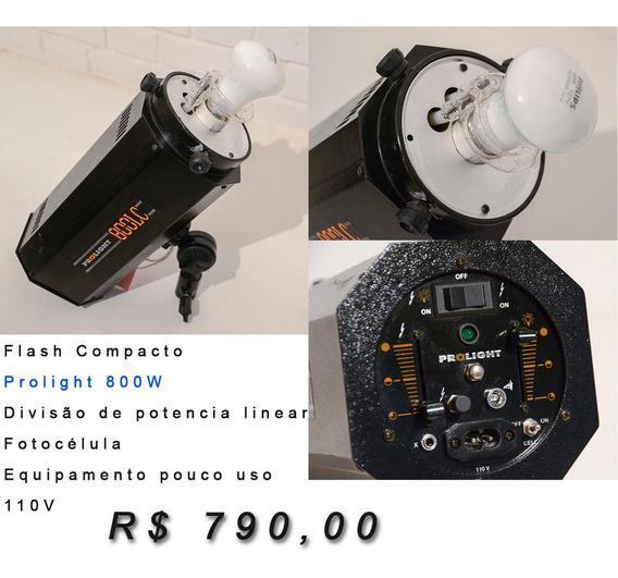 Flash Compacto Para Estúdio Prolight 800w - Pouco Uso