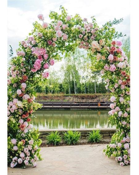 Fundo Fotográfico Gestante Arco Florido 1,5x2,2m - Ffg-17