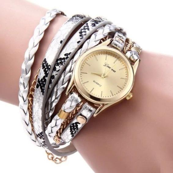 Relógio Feminino Dourado Prata Pulseira Pulso Linda Promoção