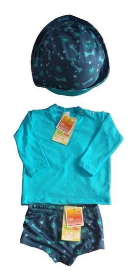 Kit Bebé 2 Camisas, 1 Sunga,1 Calça E 2 Chapéus Upf 50+