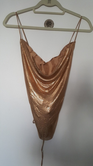Top Metalizado Zara En Dorado Impecable