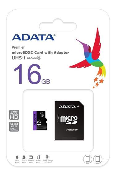 Adata Memoria Micro Sd Hc 16gb Uhs-i Clase 10 Celulares Alta Transferencia Mayoreo Barata Nueva 100% Original Sellada /k