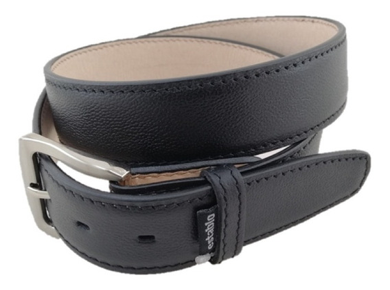 Cinturón Casual Hombre Vaqueta Liso Establo Negro Hebilla