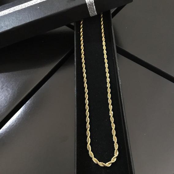 Cordão Colar Masculino Trançado Fino 70cm Folheado Ouro 18k