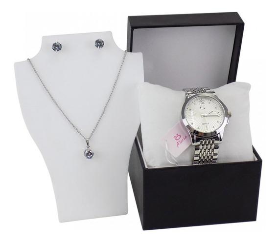 Relógio Feminino Prata Casual + Colar E Brincos Original