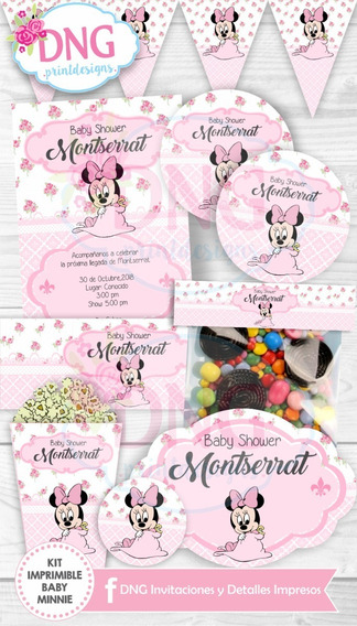 Kit Imprimible Candy Bar Minnie Baby Pink Rosa Bebe
