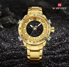 Relógio Naviforce 9093 Dourado Analógico Digital Promoção
