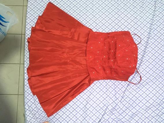 Vestido (saia + Corpete) De Seda Com Renda Vermelho