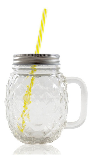 Frasco Ball Mason Jar Piña 16oz Transparente Tapa Y Popote
