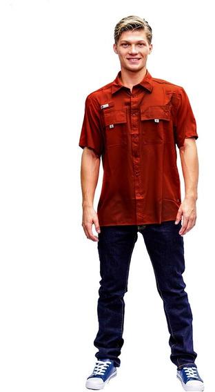 Camisas Ke Manga Corta Terracota Hombre #cc09-2743