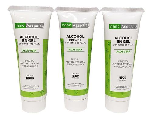 Alcohol En Gel Nano Asepsis Con Aloe Vera 80cc X3