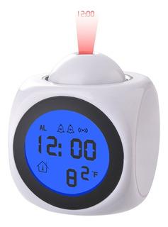 Reloj Despertador Blanco Con Proyector Led.