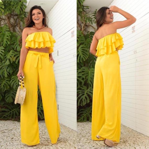 Calça Pantalona Amarela Soltinha Boca Flare Viscose