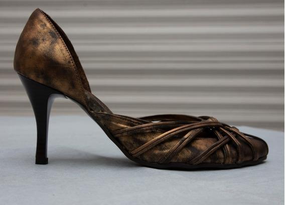 Zapatos Stiletto Marca Viamo Color Bronce Jaspeado Numero 37