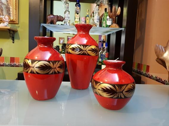 Jarrones Decorativos En Rojo 3pzs Centro De Mesa Regalo