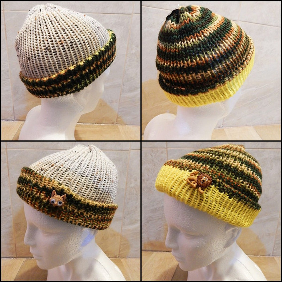 Gorro Doble Vista Tejido Verde Beig Crochet Unisex Leon Gato