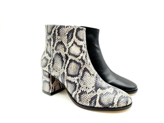 Botineta Bota Corta Taco Bajo Cuero Mujer Zapato 1600/fb
