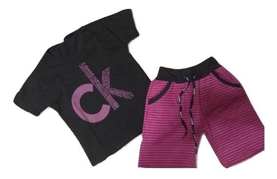 10 Conjunto Infantil Menino Crianças Bermud Camis 1 A 14 Ano