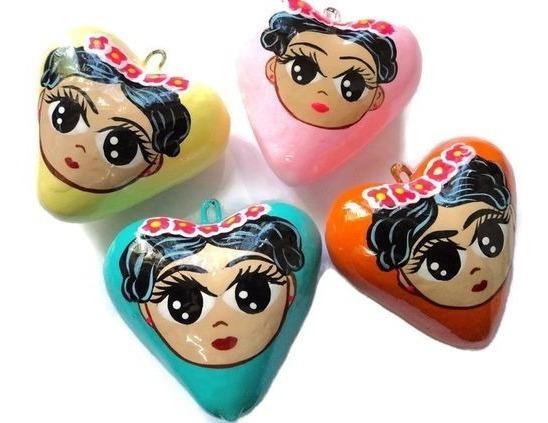 Dije Corazon De Ceramica Artesanal Frida Mod2 1 Pieza