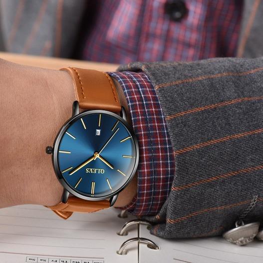Reloj Fino Ultra Delgado Casual Business Acero Y Cuero
