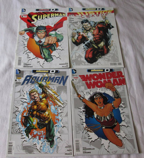 Lote De 4 Cómics Dc 0. Wonder W, Superman, Aquaman, Justice