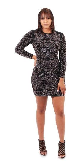 Vestido Likra Ivory Aplicaciones De Cuentas Talla Grande
