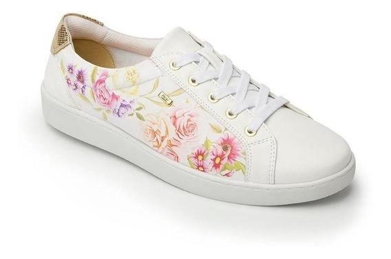 Tenis Dama Mujer Flexi Piel Blancos Florales Casuales