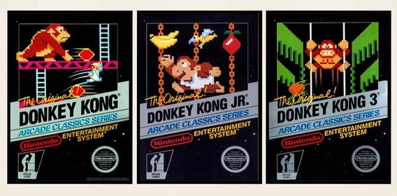 3 Poster Placa Decorativa Trilogia Donkey Kong Nes Nintendo