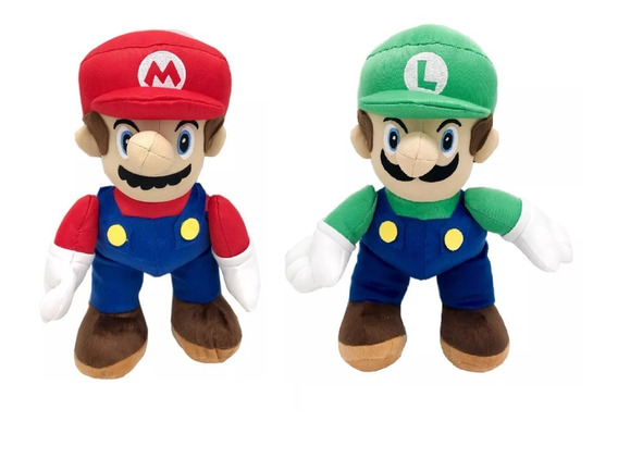 3 Bonecos Pelúcia Mario Bross Luigi Unissex Anti Alérgico