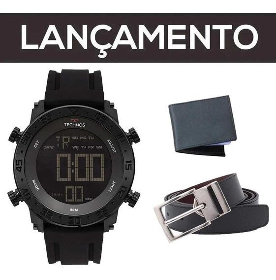 Relógio Technos Masculino Preto Top + Carteira + Cinto + Nf